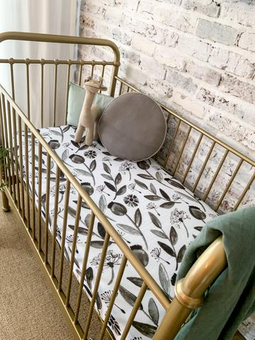 Muslin Cot Sheet, In the meadow white and grey, The Little Bird's Shop