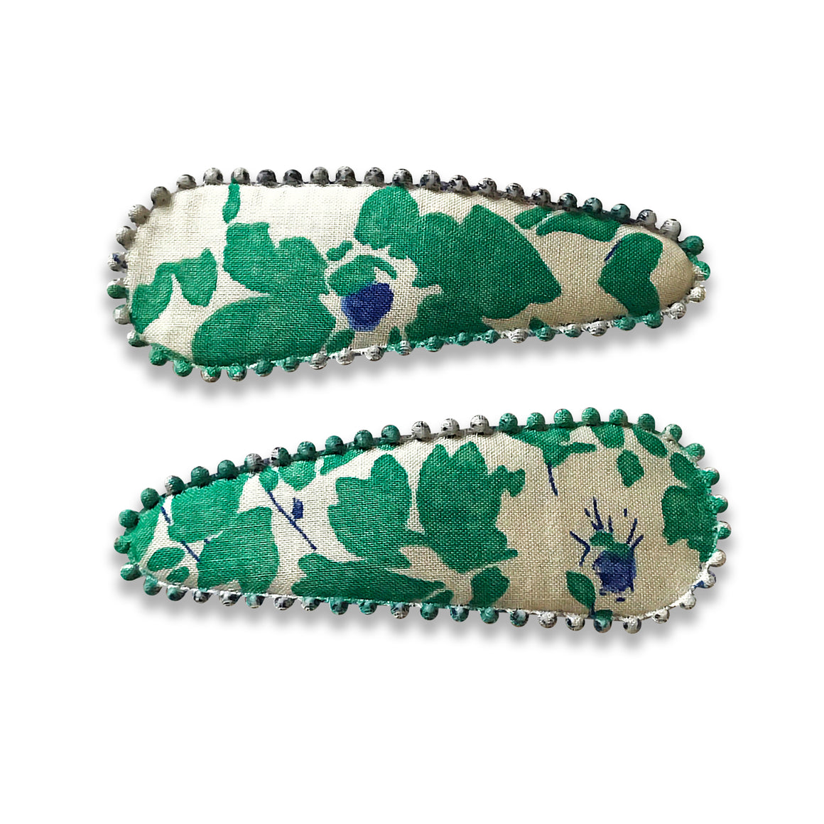 Hair Clips,Green and White floral pattern, Set of two Hair Accessories, The Little Bird's Shop