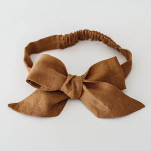 Mustard linen bow headband for babies and toddlers