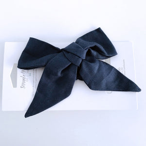 Navy Linen Bow headband for babies and toddlers