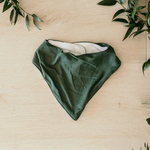 Olive coloured dribble bib