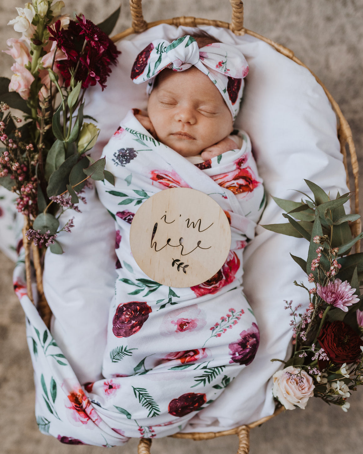 Peony Bloom jersey wrap and bow on baby