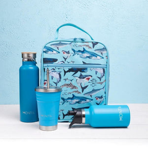 Insulated lunch bag- light blue colour and sharks all over it, light blue water bottle, smoothie bottle and drink bottle