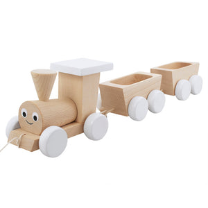 Wooden Pull Along train with white wheels and roof