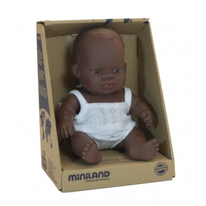 Miniland African baby girl doll in box