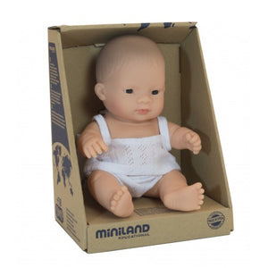 Miniland asian baby doll in a box