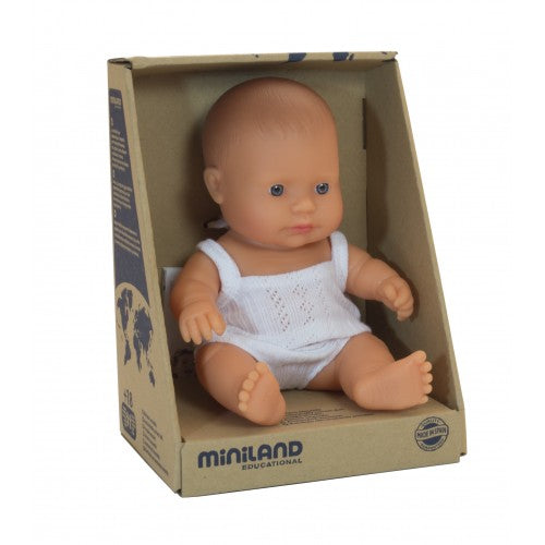 Miniland Caucasian baby girl in box