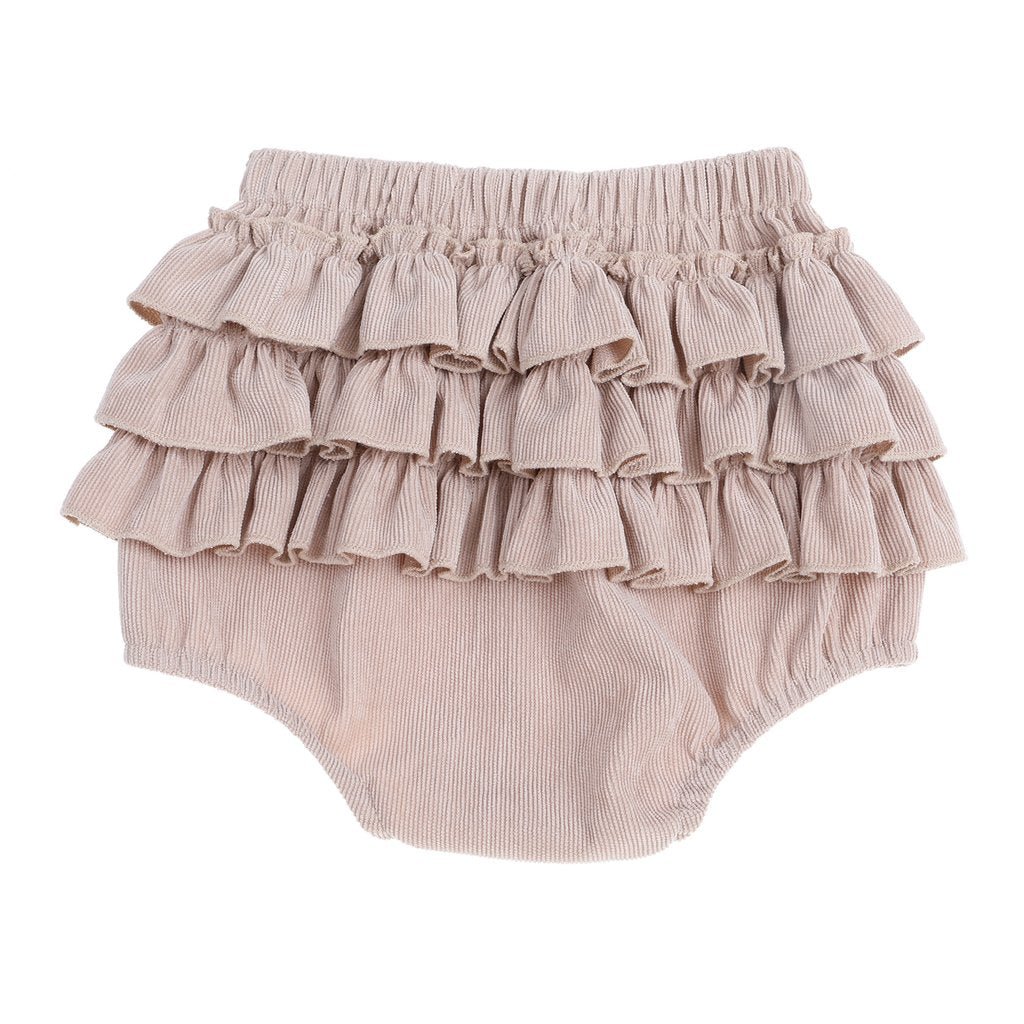 Three layer ruffle cord bloomers in sand colour back view
