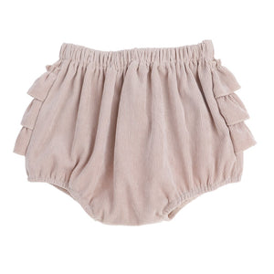Three layer ruffle bum cord bloomers in sand colour front view