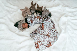 Creatures of the wood muslin wrap and newborn baby