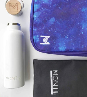 Blue Galaxy Lunch Bag with white water bottle
