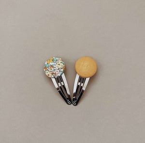 Goldie Button Bow Clip Set