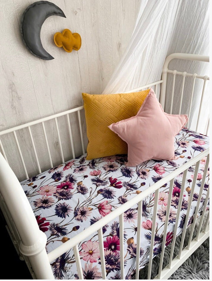 All About Aster Muslin Cot Sheet