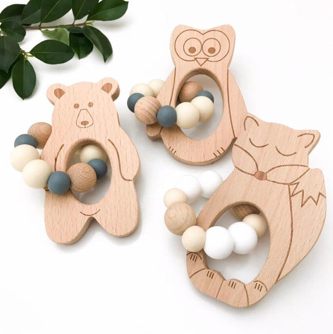 Bear, Fox and Owl natural beech wood and silicone bead teethers