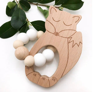Fox silicone and beech wood teether, white silicone beads