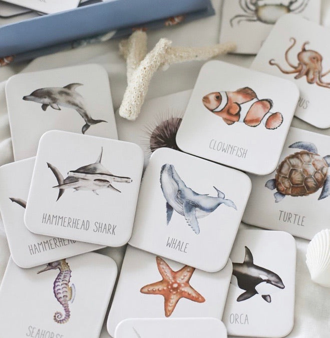 Memory card game of fish and sea creatures
