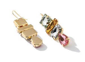 Multicoloured oversized crystal drop earring