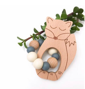 Fox silicone and beech wood teether, grey, white and natural silicone beads