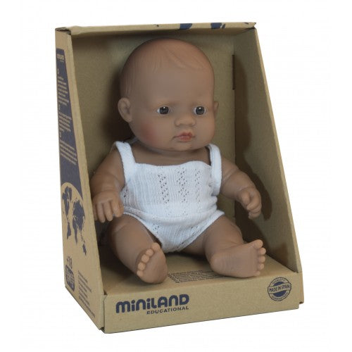 Miniland Doll Latin American baby girl doll in box
