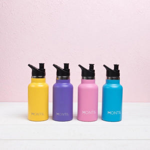 four mini drink bottles- yellow, purple, pink, blue