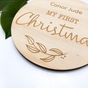 Wooden first christmas plaque