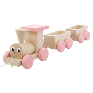 Wooden pull along train with pink wheels and roof