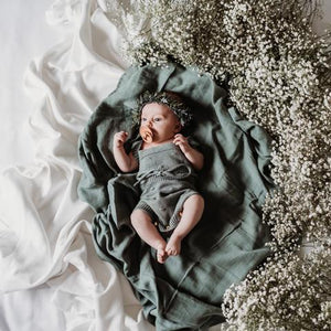 Soft moss green baby swaddle blanket, The Little Bird's Shop