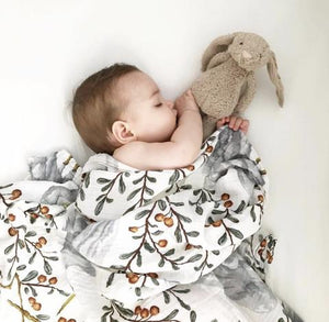 Baby Swaddle Blanket kushiro crane pattern, The Little Bird's Shop