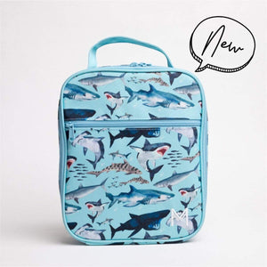 Light blue insulated lunch bag with different types of sharks all over it