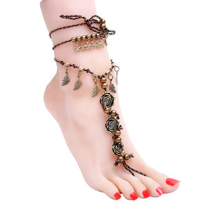 New Flower Anklet Foot Chain Anklet Summer Bracelet Charm Anklet Tassel Sandals  Beach Foot Jewelry ee53696cecfa