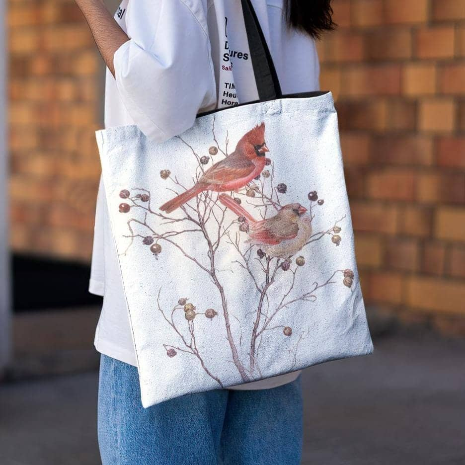 Cardinals In Nut Tree - Tote Bag by Glen Loates from the Glen Loates Store