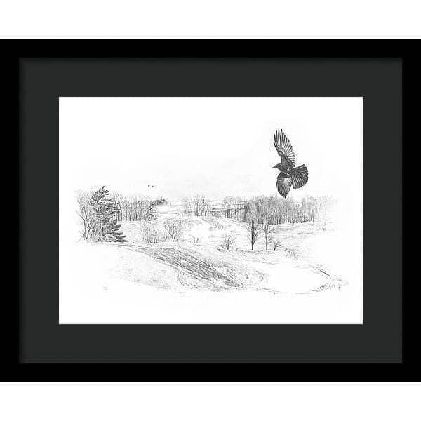 Crow Flying Over Landscape - Framed Print by Glen Loates from the Glen Loates Store