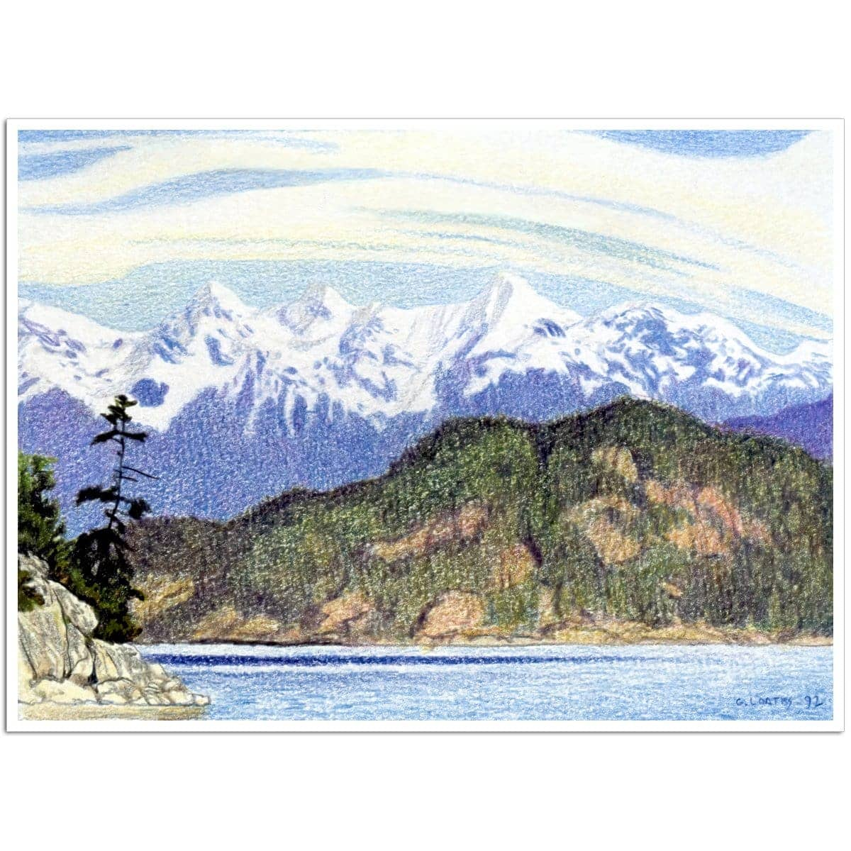 Snow Capped Mountains in British Columbia - Art Print by Glen Loates from the Glen Loates Store