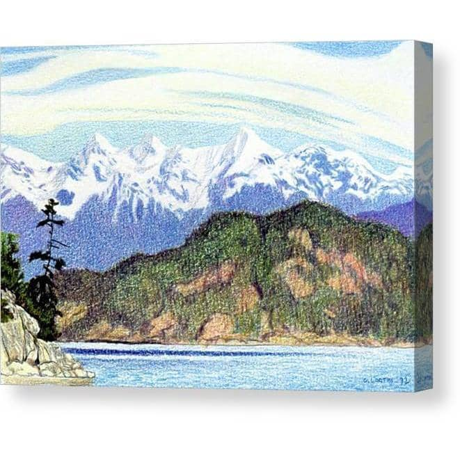 Snow Capped Mountains in British Columbia - Canvas Print by Glen Loates from the Glen Loates Store
