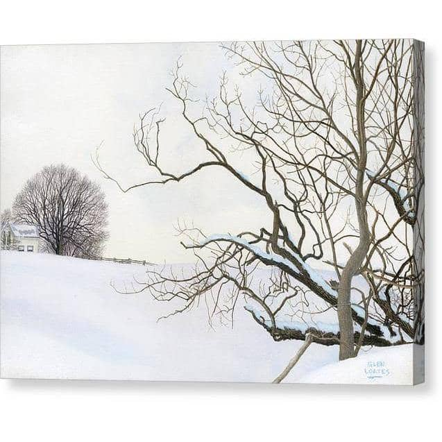 Winter White with Purple Martin House - Canvas Print - The Official Glen Loates Store
