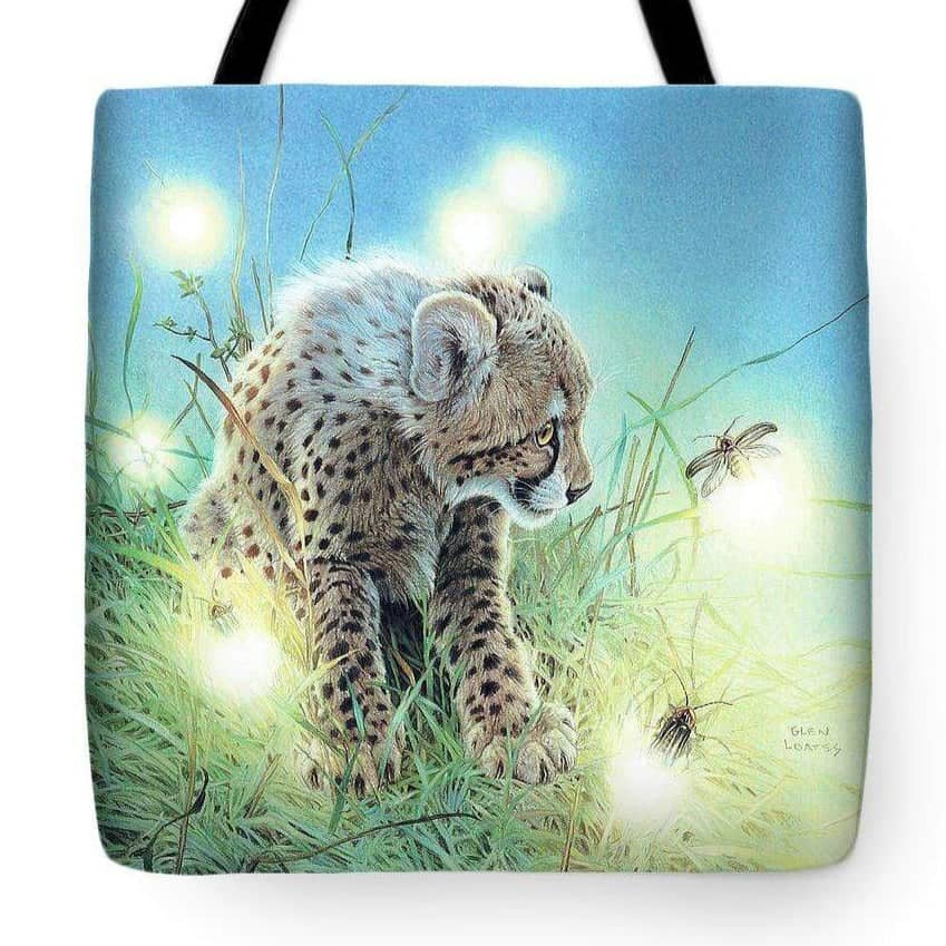 Young Cheetah with Fireflies - Tote Bag