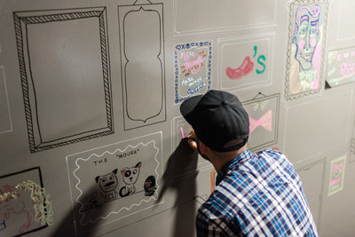 IdeaPaint Create Clear being used to create a wall mural artwork and express creativity