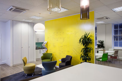 IdeaPaint Create Clear in the workplace being used for collaboration
