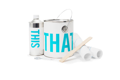 IdeaPaint Create Clear dry erase paint cans and kit contents
