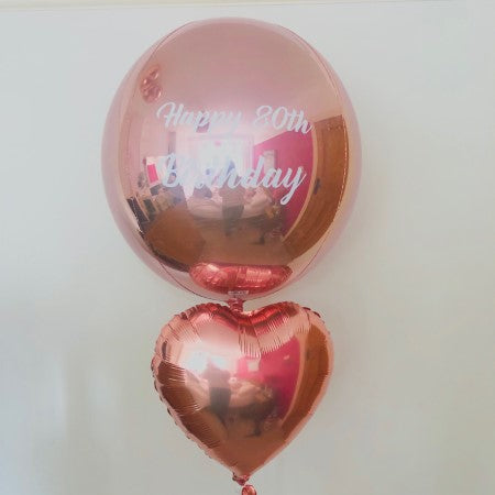 Giant 21 Inch Rose Gold Orbz Balloon for 80th Birthday Celebration I My Dream Party Shop Ruislip