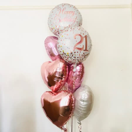 21st Birthday Rose Gold and Pale Pink Balloon Bouquet I My Dream Party Shop Ruislip