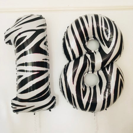 Black and White Zebra Print Giant Helium Inflated Numbers I Helium Inflation Ruislip I My Dream Party Shop
