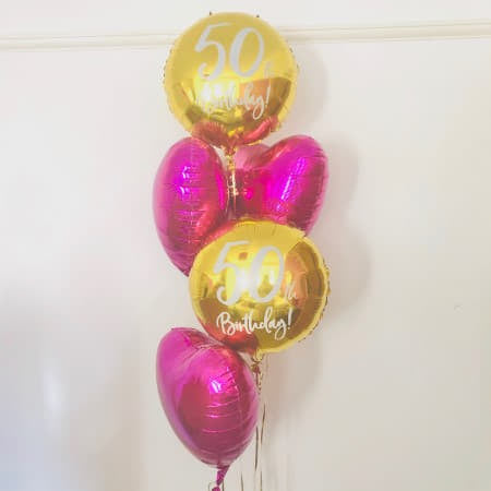 Fuschia Pink and Gold 50th Balloon Cluster I My Dream Party Shop Ruislip