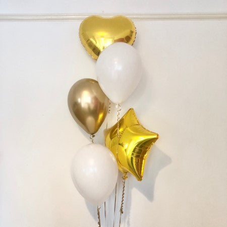 Gold and White Balloon Cluster I Helium Inflation Ruislip I My Dream Party Shop
