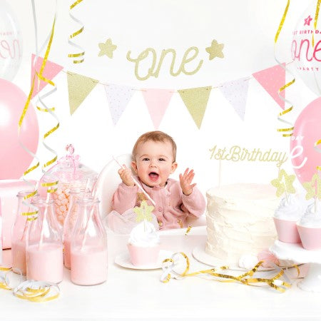 1st Birthday - Pink and Gold Collection I Gorgeous Tableware and Decorations for Pretty First Birthday Party UK