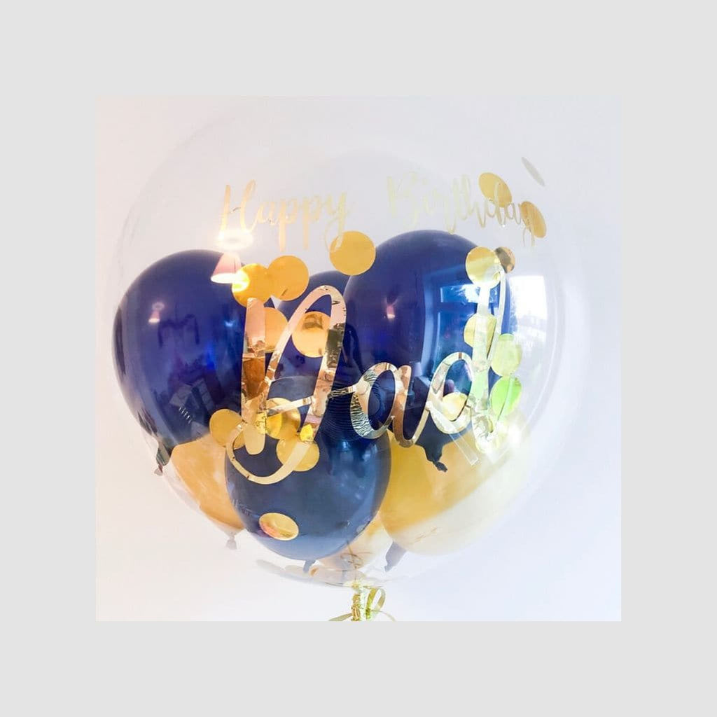 Happy Birthday Dad Navy and Gold Bubble Balloon
