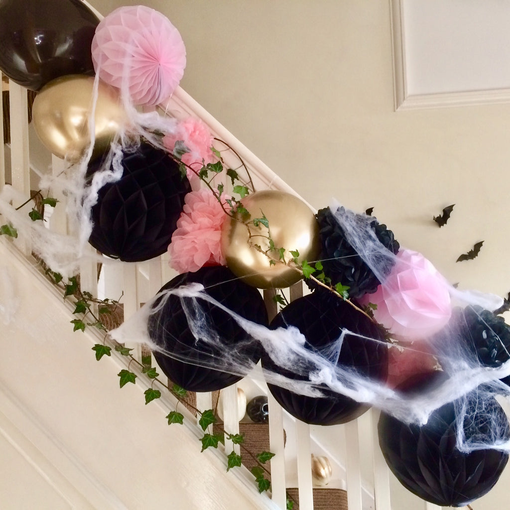 Spooky Spiderweb over Balloon Garland I Halloween Party Decor I My Dream Party Shop