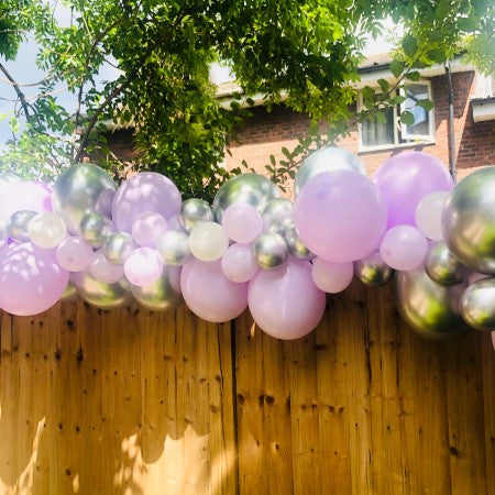 Matt Pastel Lilac and Chrome Silver Balloon Garland I Surprise 30th Birthday I My Dream Party Shop Ruislip