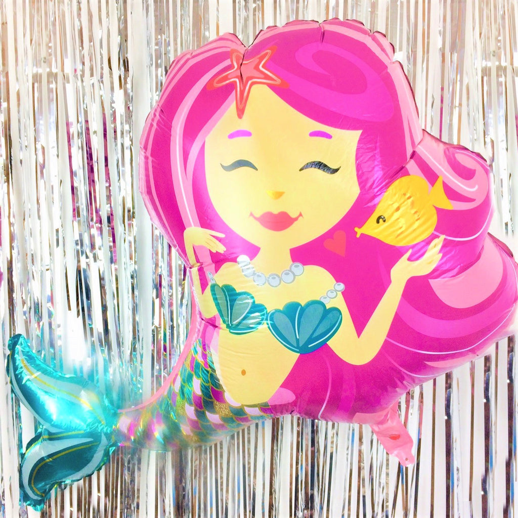 Large Pink Mermaid Foil Balloon