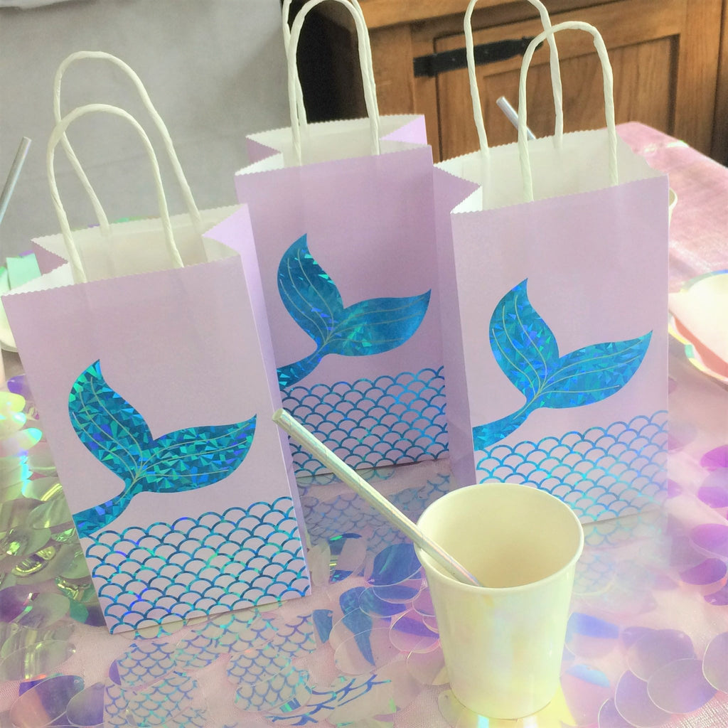 Lilac Mermaid Tail Kraft Paper Party Bags I Under the Sea Themed Party Blog I My Dream Party Shop I UK